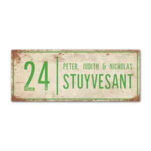 Naambord-Stuyvesant-vintage-koenmeloen-voordeur-wit-lichtgroen