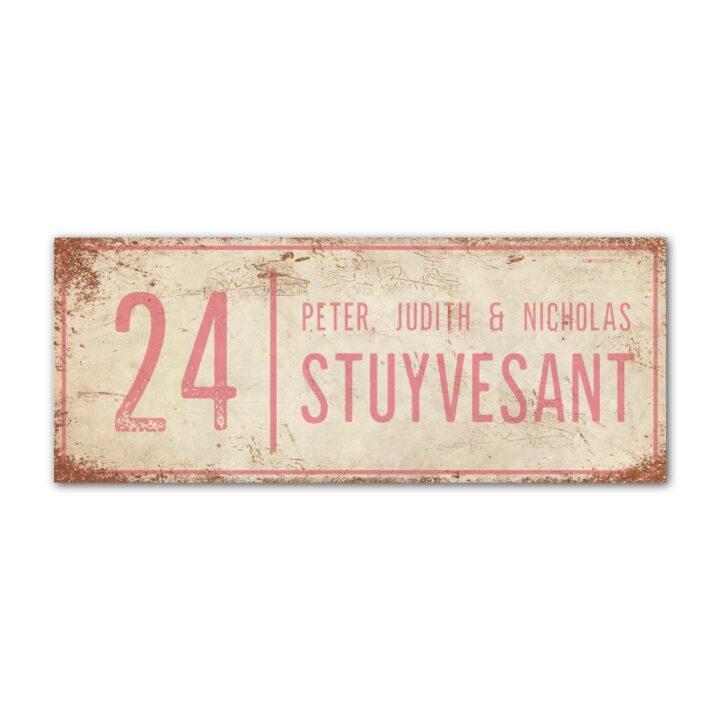 Naambord-Stuyvesant-vintage-koenmeloen-voordeur-wit-lichtroze