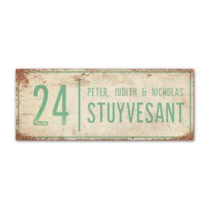 Naambord-Stuyvesant-vintage-koenmeloen-voordeur-wit-mint