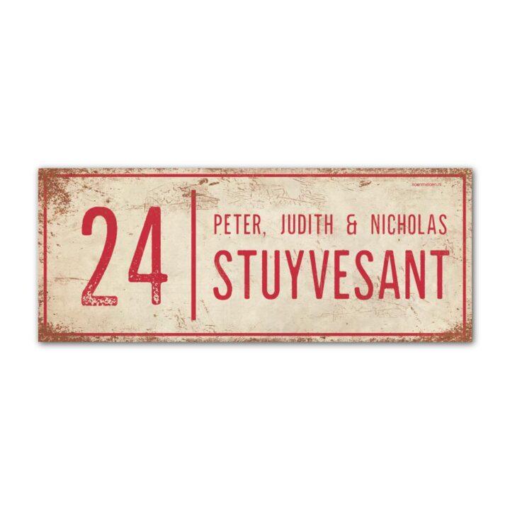 Naambord-Stuyvesant-vintage-koenmeloen-voordeur-wit-rood