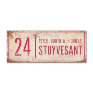 Naambord-Stuyvesant-vintage-koenmeloen-voordeur-wit-roze
