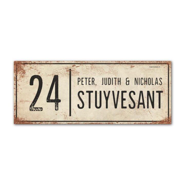 Naambord-Stuyvesant-koenmeloen-vintage-voordeur-wit-zwart