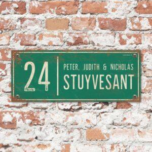 Naambord-Stuyvesant-vintage-koenmeloen-voordeur-groen-wit