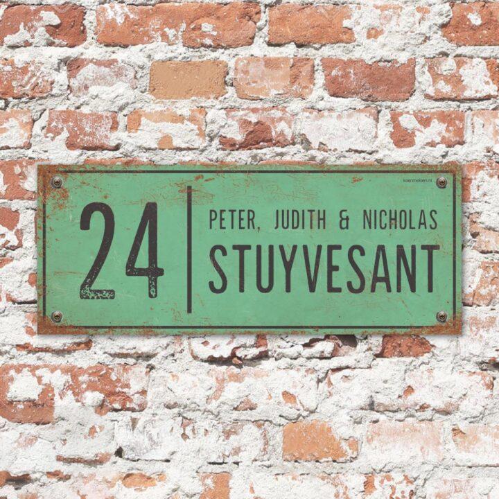 Naambord-Stuyvesant-vintage-koenmeloen-voordeur-mint-zwart