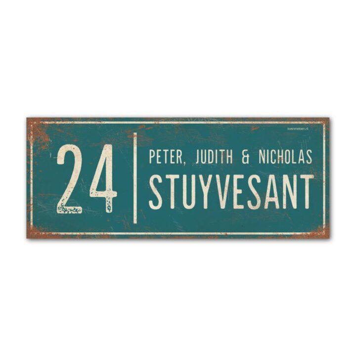 Naambord-Stuyvesant-vintage-koenmeloen-voordeur-petrol-blauw-wit