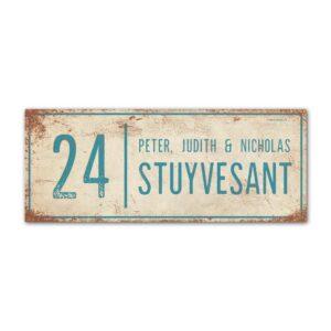 Naambord-Stuyvesant-vintage-koenmeloen-voordeur-wit-blauw