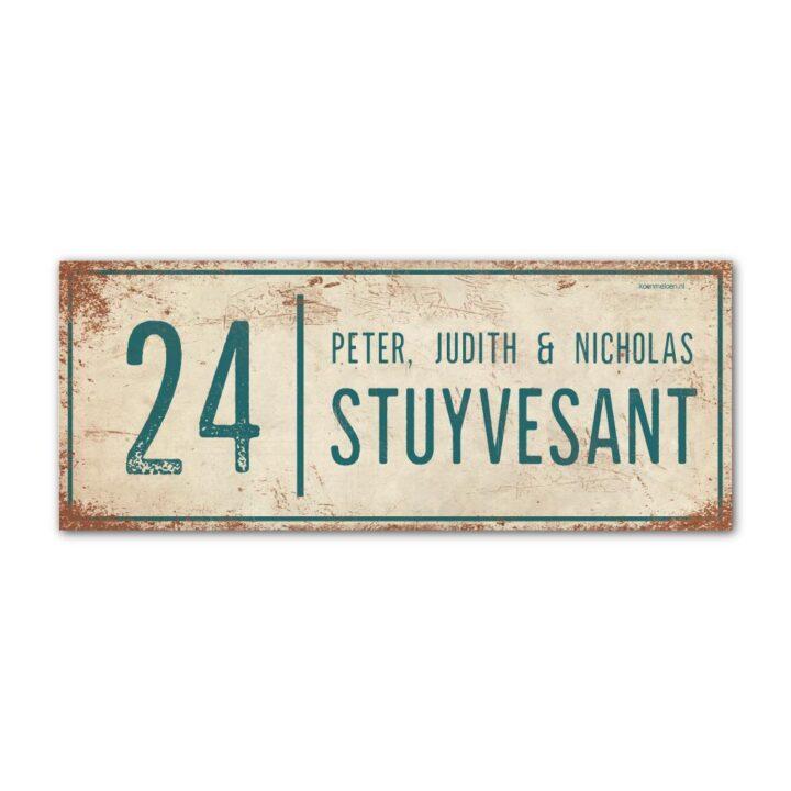 Naambord-Stuyvesant-vintage-koenmeloen-voordeur-wit-petrol-blauw