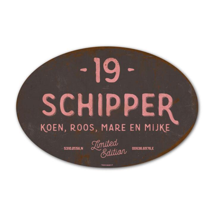 Naambord-Schipper-vintage-koenmeloen-voordeur-roze-natrciet-muur