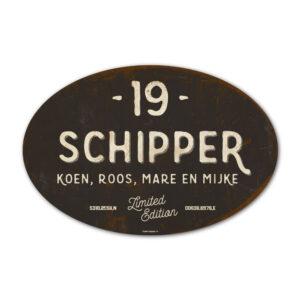 Naambord-Schipper-vintage-koenmeloen-voordeur-antraciet-wit