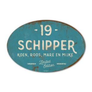 Naambord-Schipper-vintage-koenmeloen-voordeur-blauw-wit