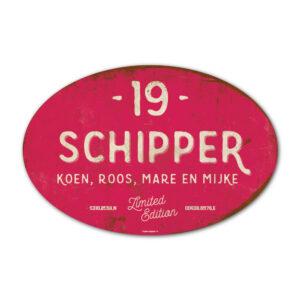 Naambord-Schipper-vintage-koenmeloen-voordeur-knal-roze-wit-muur