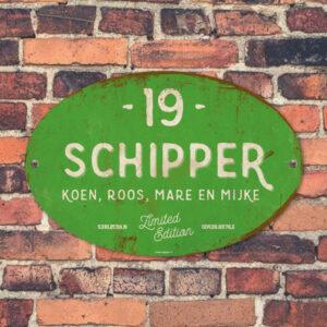 Naambord-Schipper-vintage-koenmeloen-voordeur-licht-groen-wit