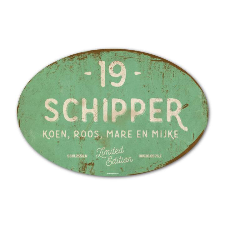 naambord-Schipper-vintage-koenmeloen-voordeur-mint-wit-muur