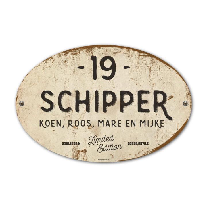 Naambord-Schipper-vintage-koenmeloen-voordeur-wit-antraciet