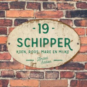 Naambord-Schipper-vintage-koenmeloen-voordeur-groen-wit