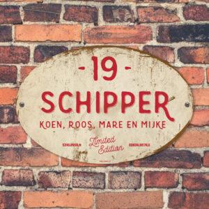 Naambord-Schipper-vintage-koenmeloen-voordeur-rood-wit