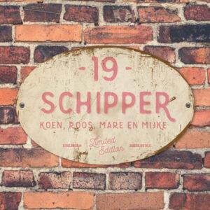 Naambord-Schipper-vintage-koenmeloen-voordeur-roze-wit