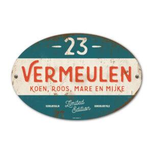 Naambord-Vermeulen-vintage-koenmeloen-voordeur-rood-groen-wit