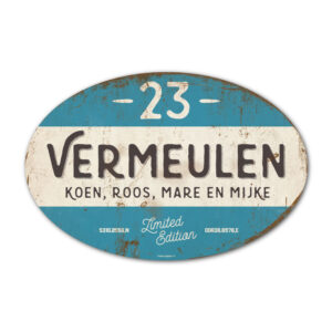 Naambord-Vermeulen-vintage-koenmeloen-voordeur-zwart-blauw-wit