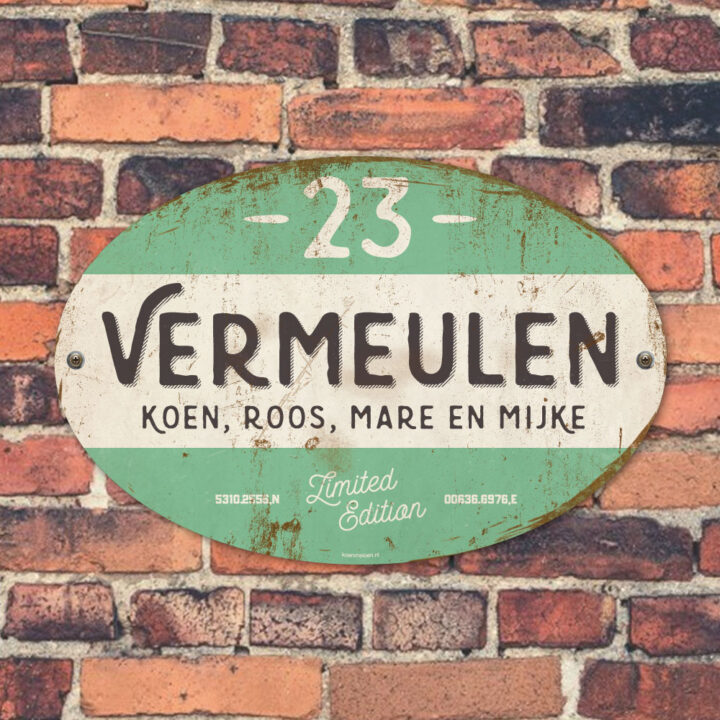 Naambord-Vermeulen-vintage-koenmeloen-voordeur-zwart-mint-wit