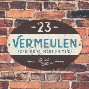 Naambord-Vermeulen-vintage-koenmeloen-voordeur-zwart-blauw-wit-muur