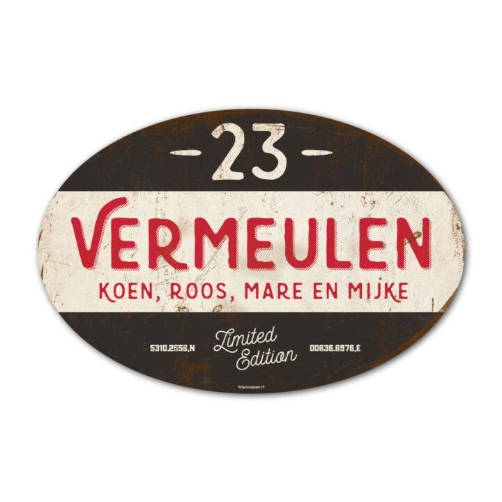Naambord-Vermeulen-vintage-koenmeloen-voordeur-zwart-rood-wit