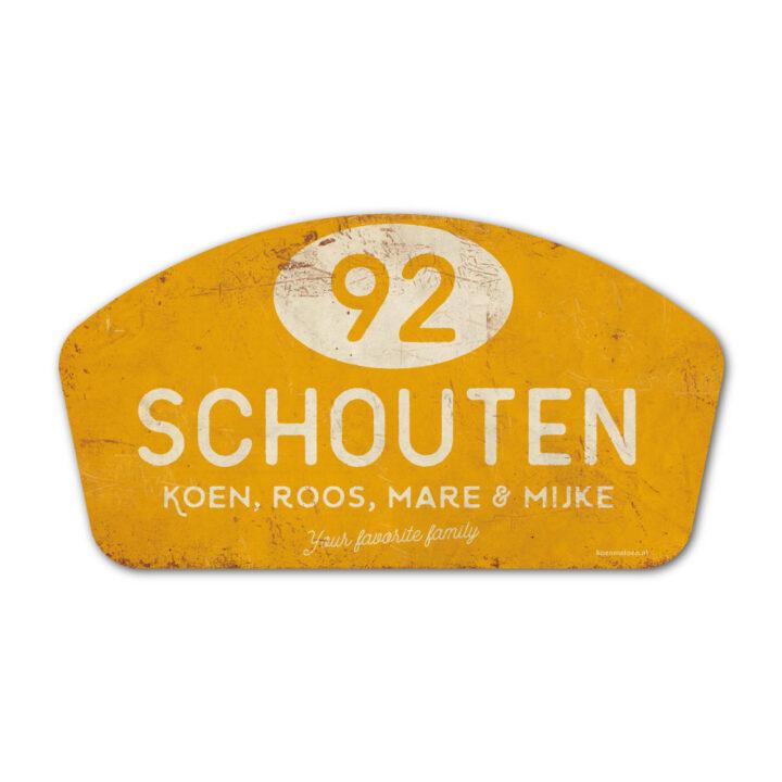 Naambord-Schouten-vintage-koenmeloen-voordeur-wit-geel