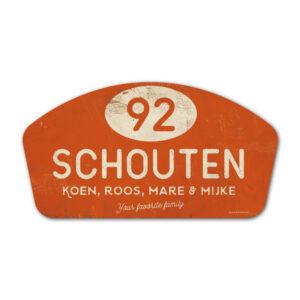 Naambord-Schouten-vintage-koenmeloen-voordeur-oranje-wit