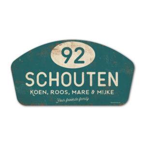 Naambord-Schouten-vintage-koenmeloen-voordeur-petrol-blue-wit