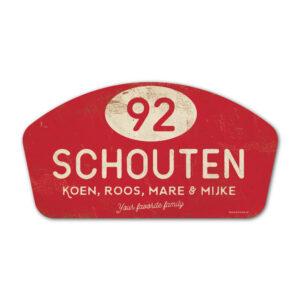 Naambord-Schouten-vintage-koenmeloen-voordeur-rood-wit