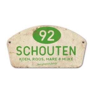 Naambord-Schouten-vintage-koenmeloen-voordeur-groen-wit