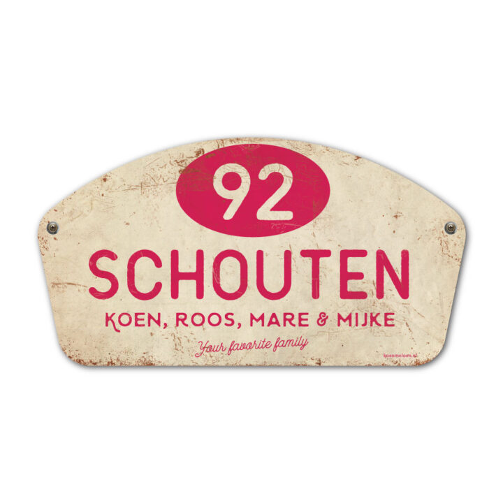 Naambord-Schouten-vintage-koenmeloen-voordeur-knalroze-wit