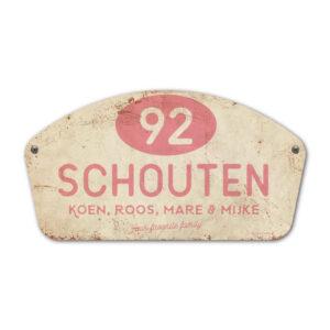 Naambord-Schouten-vintage-koenmeloen-voordeur-wit-roze