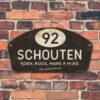 Naambord-Schouten-vintage-koenmeloen-voordeur-wit-zwart