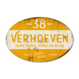 Naambord-Verhoeven-vintage-koenmeloen-voordeur-wit-geel