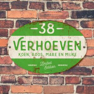 Naambord-Verhoeven-vintage-koenmeloen-voordeur-groen-wit