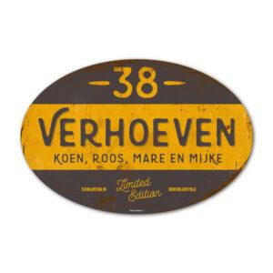 Naambord-Verhoeven-vintage-koenmeloen-voordeur-geel-zwart