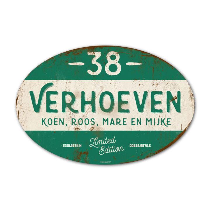 Naambord-Verhoeven-vintage-koenmeloen-voordeur-wit-donker-groen