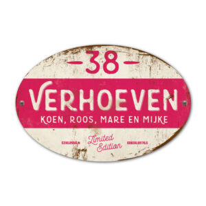 Naambord-Verhoeven-vintage-koenmeloen-voordeur-knal-wit-knal-roze