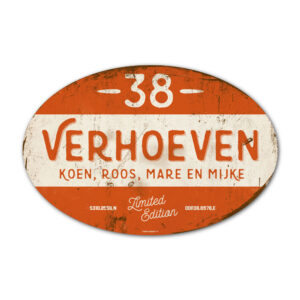 Naambord-Verhoeven-vintage-koenmeloen-voordeur-wit-oranje