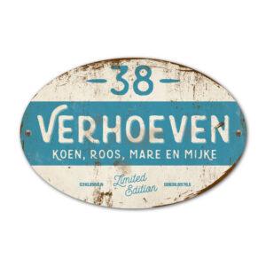 Naambord-Verhoeven-vintage-koenmeloen-voordeur-blauw-wit