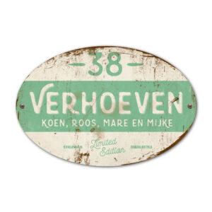 Naambord-Verhoeven-vintage-koenmeloen-voordeur-wit-mint