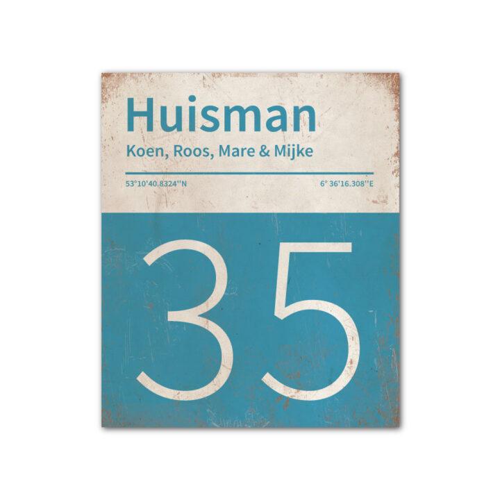 Naambord-Huisman-22-vlakken-nummer-onder-Koenmeloen--blauw-wit