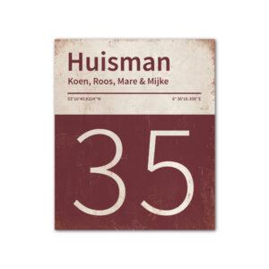 Naambord-Huisman-22-vlakken-nummer-onder-Koenmeloen--bordeaux-rood-wit