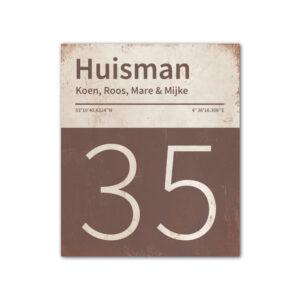 Naambord-Huisman-22-vlakken-nummer-onder-Koenmeloen--bruin-wit