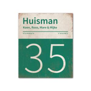 Naambord-Huisman-22-vlakken-nummer-onder-Koenmeloen--donkergroen-wit