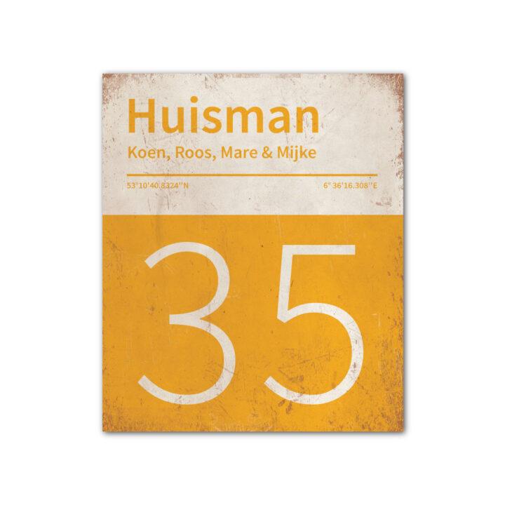 Naambord-Huisman-22-vlakken-nummer-onder-Koenmeloen--geel-wit