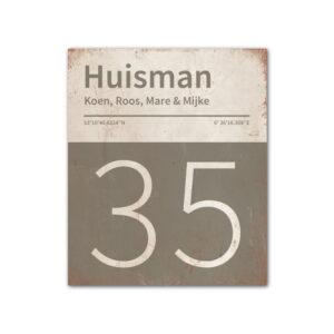 Naambord-Huisman-22-vlakken-nummer-onder-Koenmeloen--grijs-wit