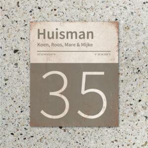 Naambord-Huisman-22-vlakken-nummer-onder-Koenmeloen--grijs-wit-muur