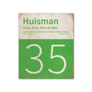 Naambord-Huisman-22-vlakken-nummer-onder-Koenmeloen--groen-wit